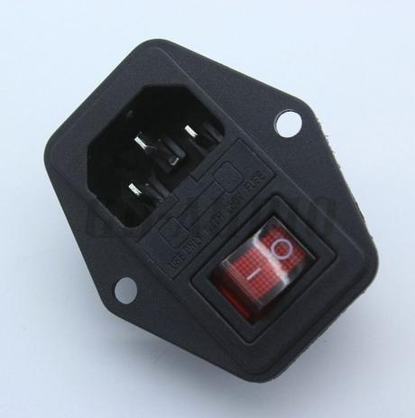 IEC320 C14 AC Power Cord Inlet Socket Receptacle AC250V 10A With ON-OFF Red Light Rocker Switch Fuse Holder RoHs CE