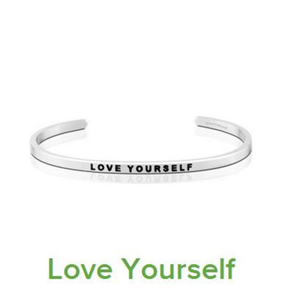 """10 PCS Hot Sale Silver Fashion Women Cuff Bangle Letter """"LIVE INTHE MOMENT"""" Stamped Stainless Steel Engraved Bangle"""