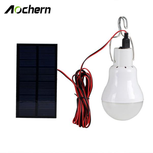 Vente en gros- Aochern Lampe solaire extérieure / intérieure alimentée par le système d'éclairage led Lumière 1 ampoule panneau solaire Low-camp camp voyage de nuit # C1004