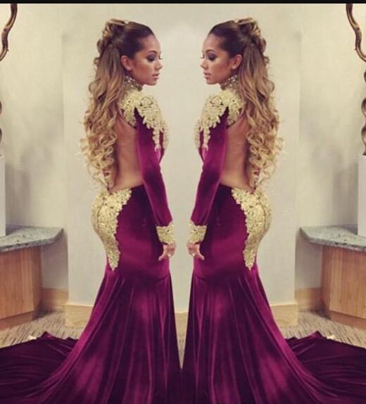 Impressionante Borgonha Veludo Sereia Evening Celebrity Red Carpet Dresses 2017 com lantejoulas de renda de ouro Applique gola alta sem encosto vestidos formais