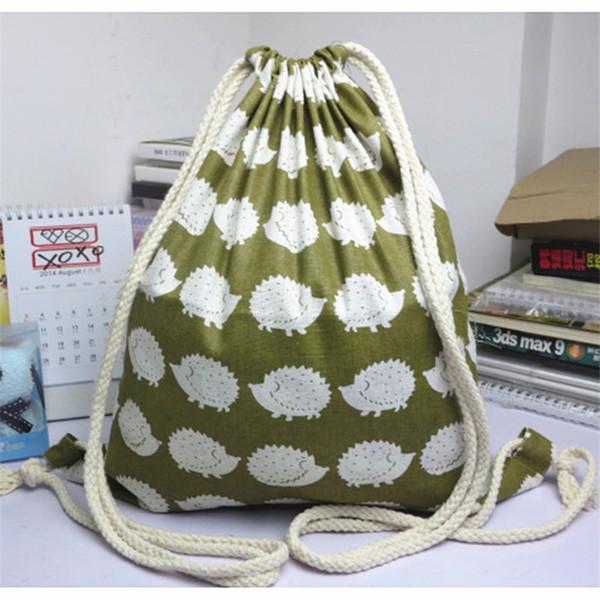 Al por mayor- YWA09 Tela simple bolsa de lino con cordón Mochila de viaje Estudiante libro bolsa impresa erizo