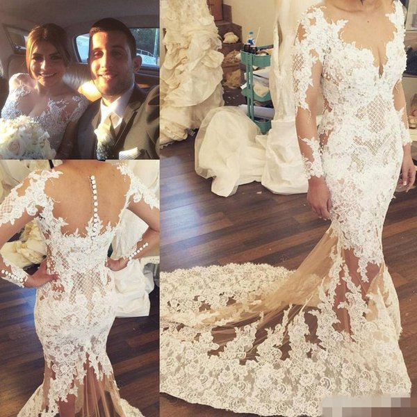 2017 Zuhair Murad Lace Wedding Dresses Long Sleeves Sheer Neck Beads Mermaid Wedding Gowns Sweep Train Spring Summer Real Image Bridal Dress