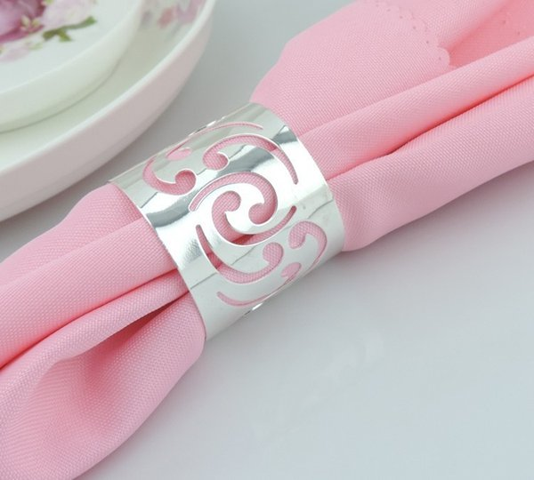Wholesale- 12pcs/lot Free Shipping Alloy Silver Napkin Ring For Wedding Round Banquet Napkin Holder