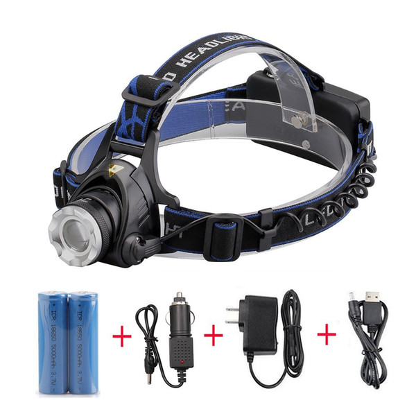 3800Lm T6 LED head lamp zoom HeadLamp Bike lights Rechargeable waterproof headlight+2*18650batteries+car charger+AC/charger+USB head lamps