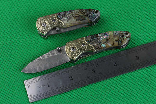 Damascus Small abalone (carved copper head) outdoor survival camping hunting knife wild gift 1pcs free shipping