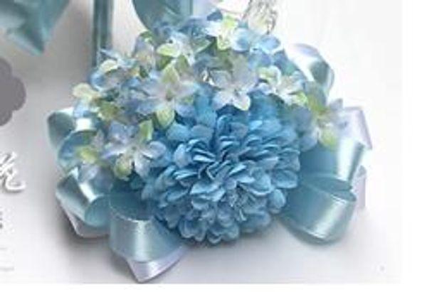 blue wrist flowers