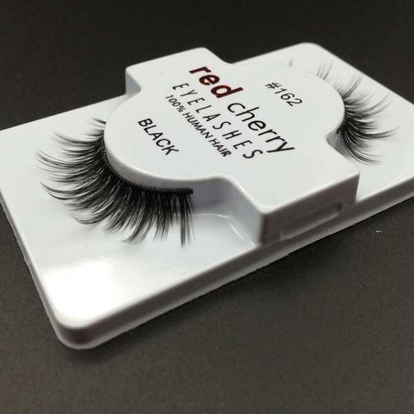 1 Pair Red Cherry Women Makeup 100% Real Human Hair Thick 3D False Eyelashes Popular Messy Nature Eye Lashes Black Handmade Lashes Extension
