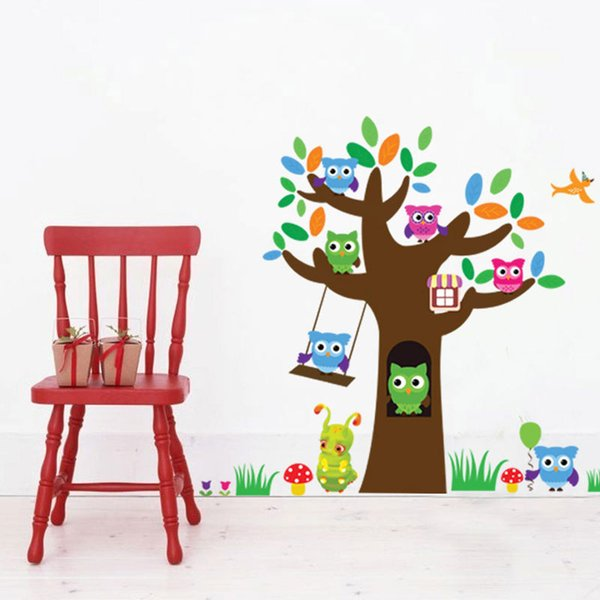 Free shipping Tree Animal Cartoon Owl Wall Stickers For Kids Rooms Boys Girls Children Bedroom Home Decor