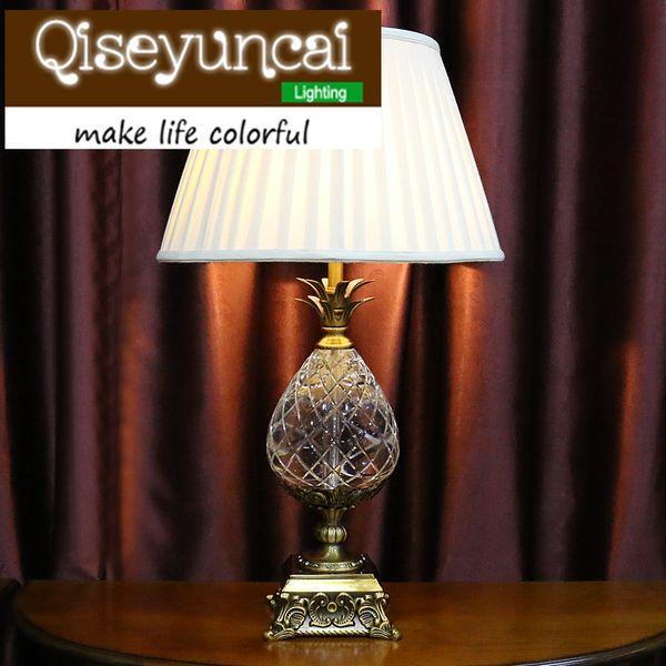 Qiseyuncai European style cozy bedroom pineapple K9 crystal table lamp modern simplicity luxury high-end fashion lighting