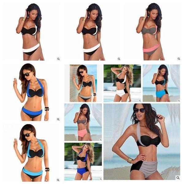 best selling 10 Colors New Sexy Women Swimsuit Swimwear Push Up High Low Waist Female Bathing Suit Set Summer Beachwear Sexy Swimwear CCA6010 100pcs