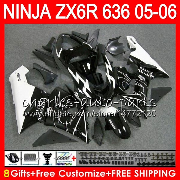 8Gifts 23Colors kit For KAWASAKI NINJA ZX 636 ZX 6R 05-06 600CC CORONA Black 27NO39 ZX-636 ZX-6R 2005 2006 ZX636 ZX6R 05 06 Fairing Bodywork