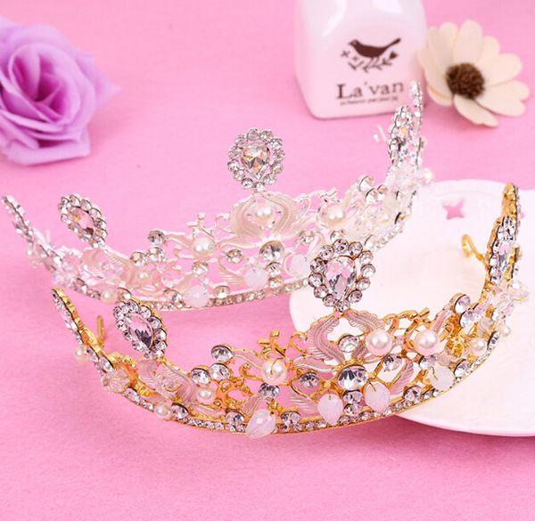 Gorgeous Wedding Tiara Simulated Pearls Jewelry Diadem Shiny Bridal Crown Big Queen Tiaras Rhinestone Crystal Hair jewelry