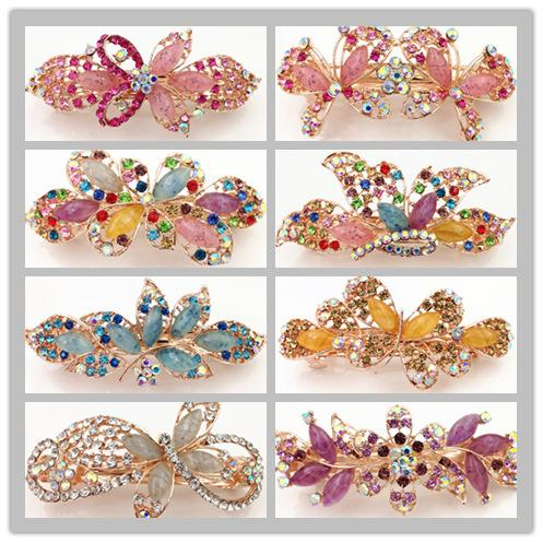 top popular wholesale mix design imitation jade style hot rhinestone folder hairclips spring hair clip women fashion barrettes 2019