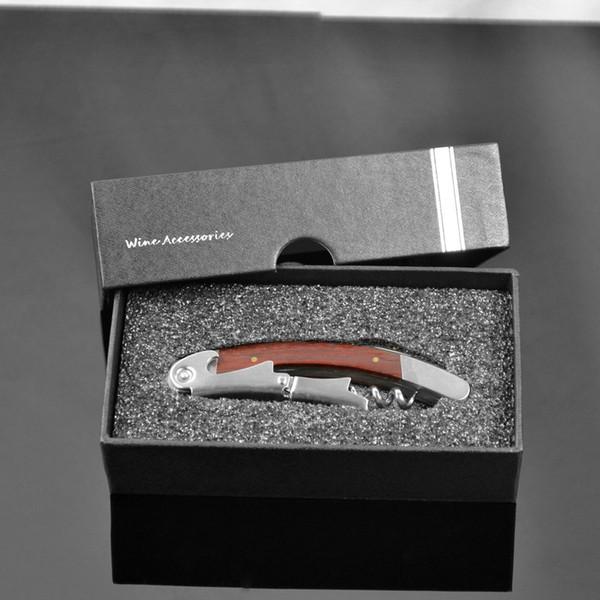 Wood Handle Stainless Steel Corkscrew Double Hinge Red Wine Bottle Opener With Delicate Gift Box Abridor De Garrafa Tools