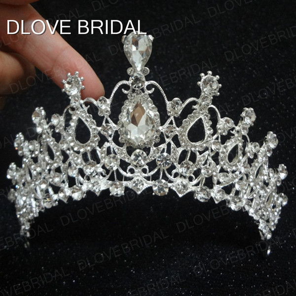 Real Photos Cheap High Quality Shining Beaded Crystals Wedding Crowns Bridal Veil Tiara Crown Headband Hair Accessories Party Wedding Tiara