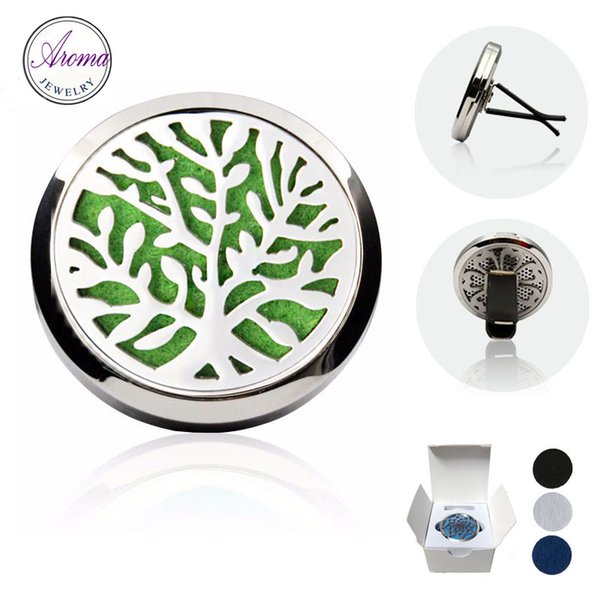 Aroma Jewelry 5pcs/lot 316L Stainless Steel Car Air Freshener Sanitizer Natural Vent Diffuser With Retail Packaging Box Free Pads C-014