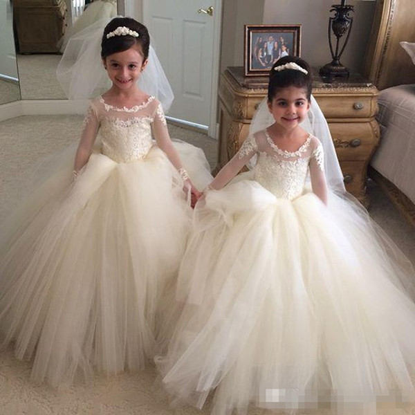New 2017 Long Sleeve Flower Girl Dresses for Vintage Wedding Crew Neck Applique Puffy Tutu Custom Made Baby First Holy Communion Dress Cheap