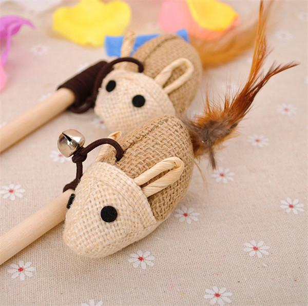Wooden Pole Hemp Mice Mouse Tease Cats Rods Plaything Environmental Fashion Wood High Quality Pet Toys DHL Freeshipping