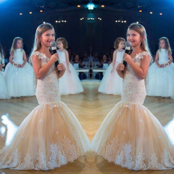 Vestidos del desfile de las muchachas de la sirena para los adolescentes 2017 Nuevo apliques de encaje blanco Vestido de la muchacha de flor del tul de Champagne Vestidos formales del baile de fin de curso de los cabritos