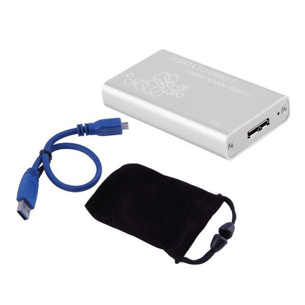 Al por mayor-Mini mSATA a USB 3.0 SSD caja de disco duro Caja de caja externa con cable