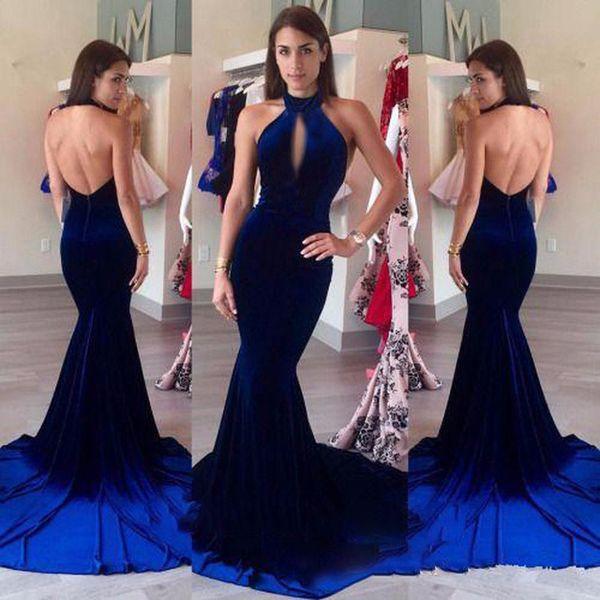 Abiti da sera in velluto 2017 Halter Keyhole Front Sexy Royal Blue Mermaid Prom Formal Long Party Gowns vestidos