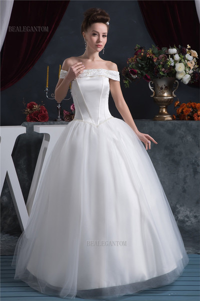 2017 New Ball Gown Wedding Dresses with Satin Organza Appliques Beaded Flowers Cheap Plus Size Bridal Gowns BM53