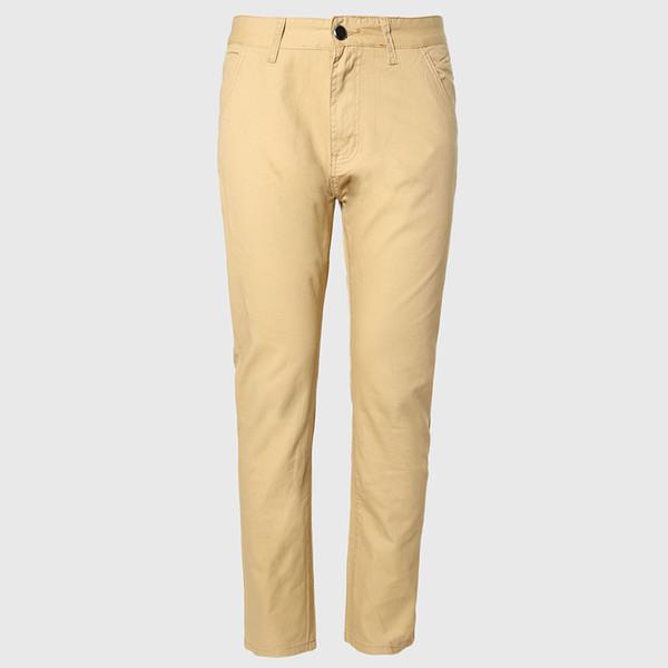 Wholesale-Men Thin Chino Pants Male Long Straight Trousers Cotton Casual Fit Bottoms Korean Pattern England Style Khaki Black
