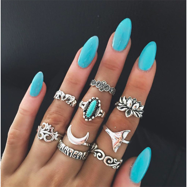 Newest 9pieces/set joint ring for women wide index finger bohemian rings retro totem carved geometric rings with elephant fishtail