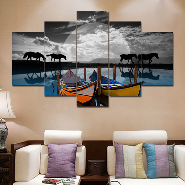 New Horse and Boats Landscape Picture 5 Pieces Unframed Canvas Painting For Home Decor Wall Art Pictures