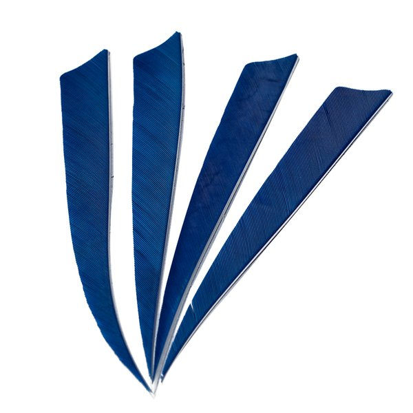 50pcs 5'' Left Wing Feathers for Glass Fiber Bamboo Wood Archery Arrows Hunting and Shooting Shield Blue Fletching