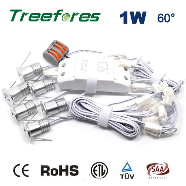 6PCS/Set + Driver + Cables 1W 100Lm 80Ra Room Bulb Lights Mini Led Ceiling Lighting Lamp