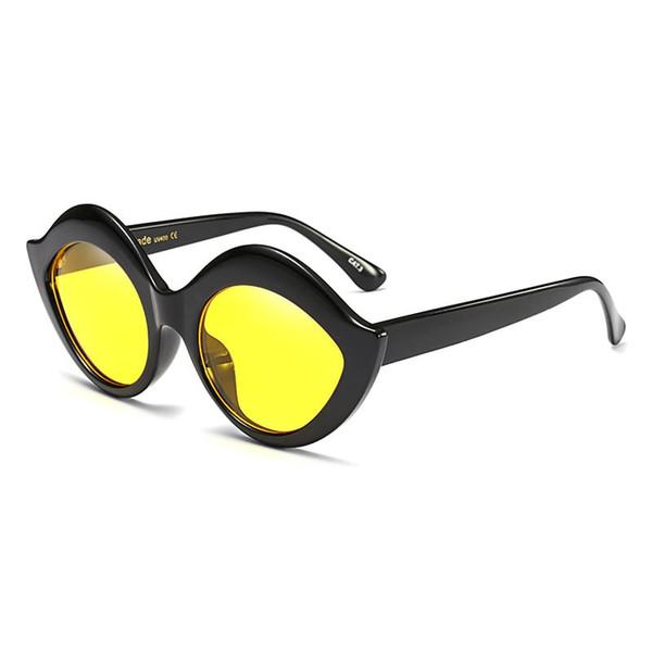 عدسة سوداء الإطار الأصفر