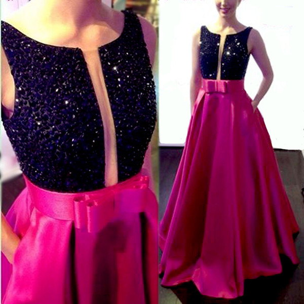 2017 Prom Dresses Keyhole Neck Fuchsia Black Crystal Beaded Open Back Long Party Dress Plus Size Evening Gowns Occasion Dress With Pockets