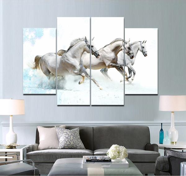 HD Stampa The White Horse Running Three Art Design Pittura senza cornice