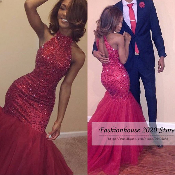 Sparkly Mermaid African Prom Dresses Red High Neck Beading Long Corset Formal Evening Dress Sexy Backless Pageant Gowns Custom Made