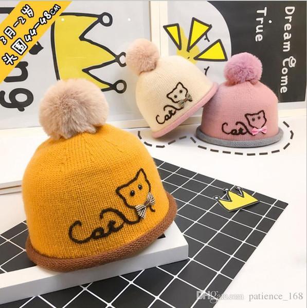 6 Farben Ins Baby Kinder junge Mädchen Hut Kinder Herbst Winter Katze Bowknot Haar Birne Kappe Baby Wollmütze Baumwolle gestrickte Winter warm halten Hut