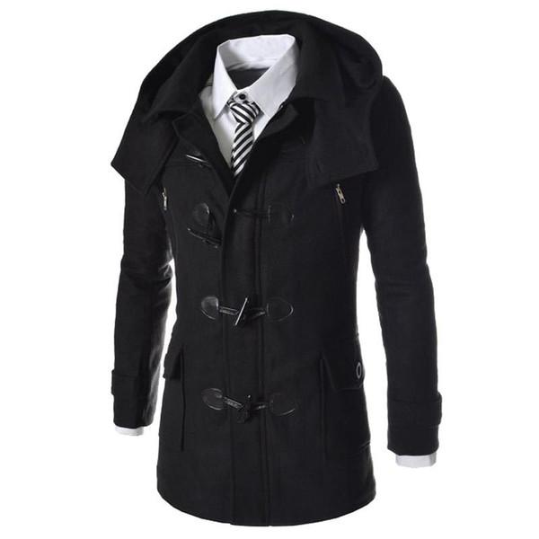 Al por mayor-Nueva marca Duffle Coat Men 2016 otoño invierno moda diseño mezcla de lana Trench Jacket para hombre Pea Coat Abrigo capa hombres 2XL
