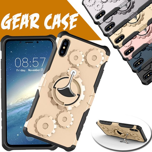 Mechanical Gear TPU+PC Hybrid Armor Case Running Armband Stand Holder Cover For iPhone XS Max XR X 8 7 6 6S Plus Samsung Galaxy Note 9 S9 S8