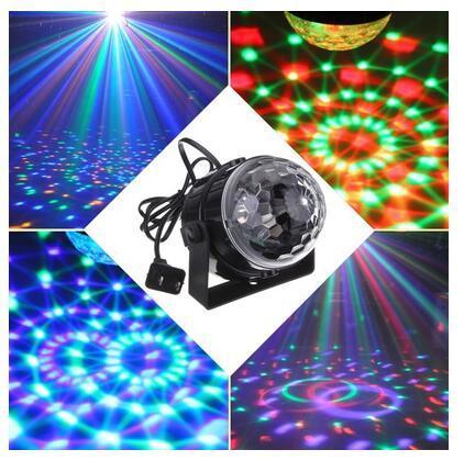 Mini RGB LED Wedding Party Disco Club DJ Light Crystal Magic Ball Effect Stage Lighting for Christmas Xmas 110-240V US Plug(EU/UK/AU Plug Ad