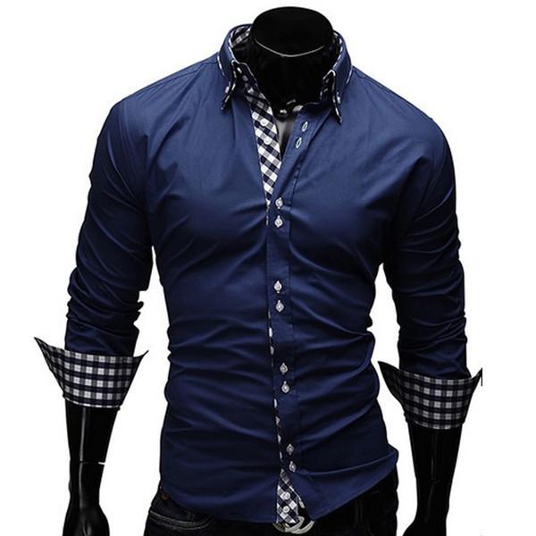 Toptan-Yeni 2016 Sonbahar Erkek Uzun Kollu Gömlek Camisas Hombre Vestir Erkek Gömlekler Hawaiian Camisa Sosyal Masculina M-XXL 13CS23
