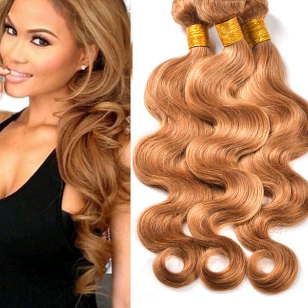 Blond human hair extensions 8A grade super cheap peruvian body wave virgin hair weft weaves 3pcs 300grams #27