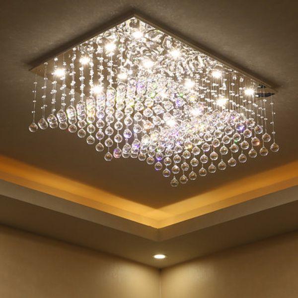 Candelabros regulables cristal K9 de clase alta led techo moderno candelabros rectangulares iluminación lámparas de techo hotel hall villa forlight