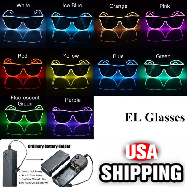 top popular Simple EL glasses El Wire Fashion Neon LED Light Up Shutter Shaped Glow Sun Glasses Rave Costume Party DJ Bright SunGlasses OOA7136 2019