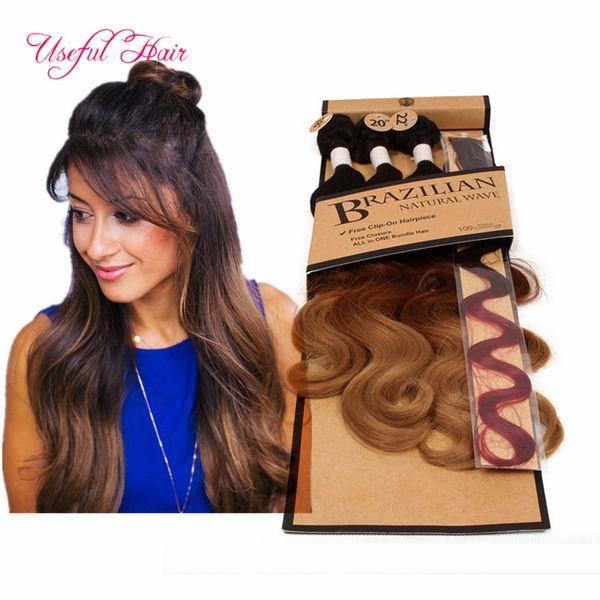 venta caliente 5pcs / lot pelo de la onda del cuerpo teje 220 gramos paquete de pelo trenzado sintético con cierre de encaje, coser extensiones de cabello teje trama de cierre