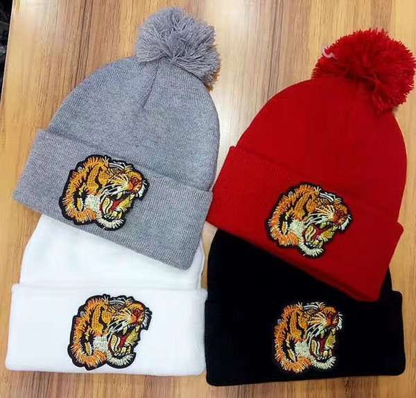 free shipping Unisex Winter Fashion brand G fashion Embroidered tiger head men knitted hat beanies women warm wool skullies caps wholesale