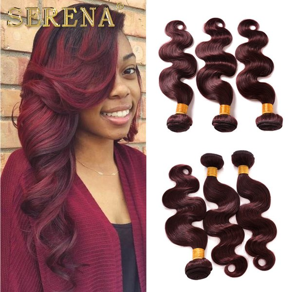 8A Brazilian Human Hair Weaves Burgundy Ombre Body Wave 3 Bundles Colorful Tone Colored 99J Red Wine Ombre Wavy Hair Weft Extensions