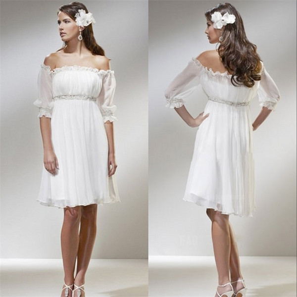 crown2014 / Off the Shoulder A-Line Short Beach Wedding Dresses 2017 Chiffon Strapless Beaded 3/4 Sleeves Knee-Length Bridal Gowns Empire Romantic