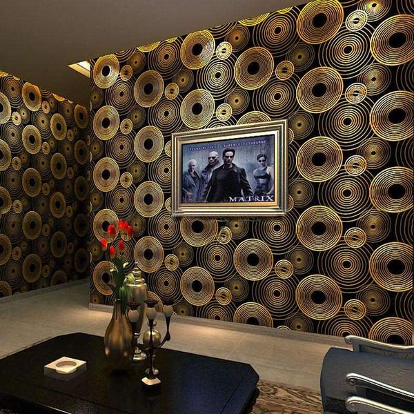 Moderne minimalistische 3D stereoskopische Kreise Wallpaper Wohnzimmer KTV Bar TV Hintergrund Goldfolie Tapete Wand Wand Papierrolle