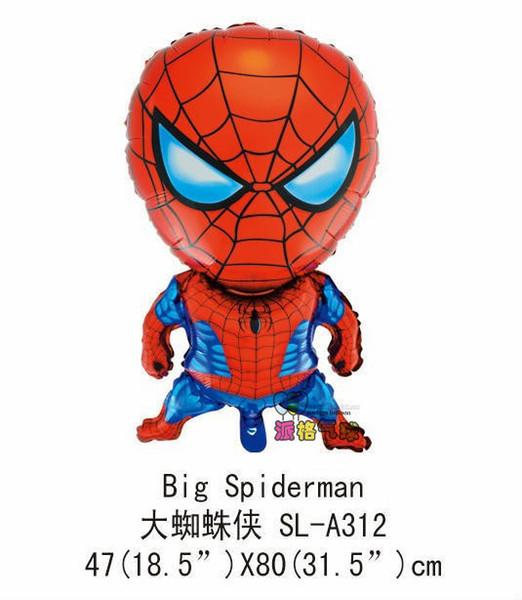 10 unids / lote envío libre 80 cm * 47 cm tamaño grande spiderman hero globos helio foil globo para juguetes del bebé forma hero globos