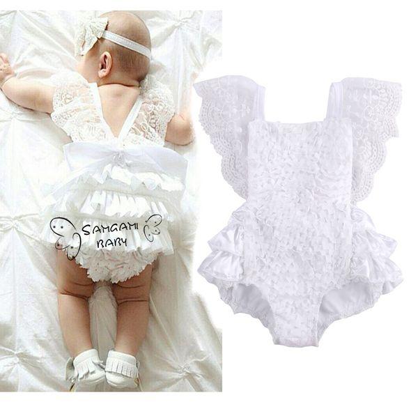INS 2017 Yaz Toddler Giysileri Bebek Bebek Kız Beyaz Dantel Romper Prenses Backless Kemer Tulum Sunsuit Tek parça Kıyafetler Çocuk Giyim